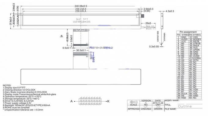 9 Inch 400 Nits Bar Type Tft Lcd Panel 1024rgb   105